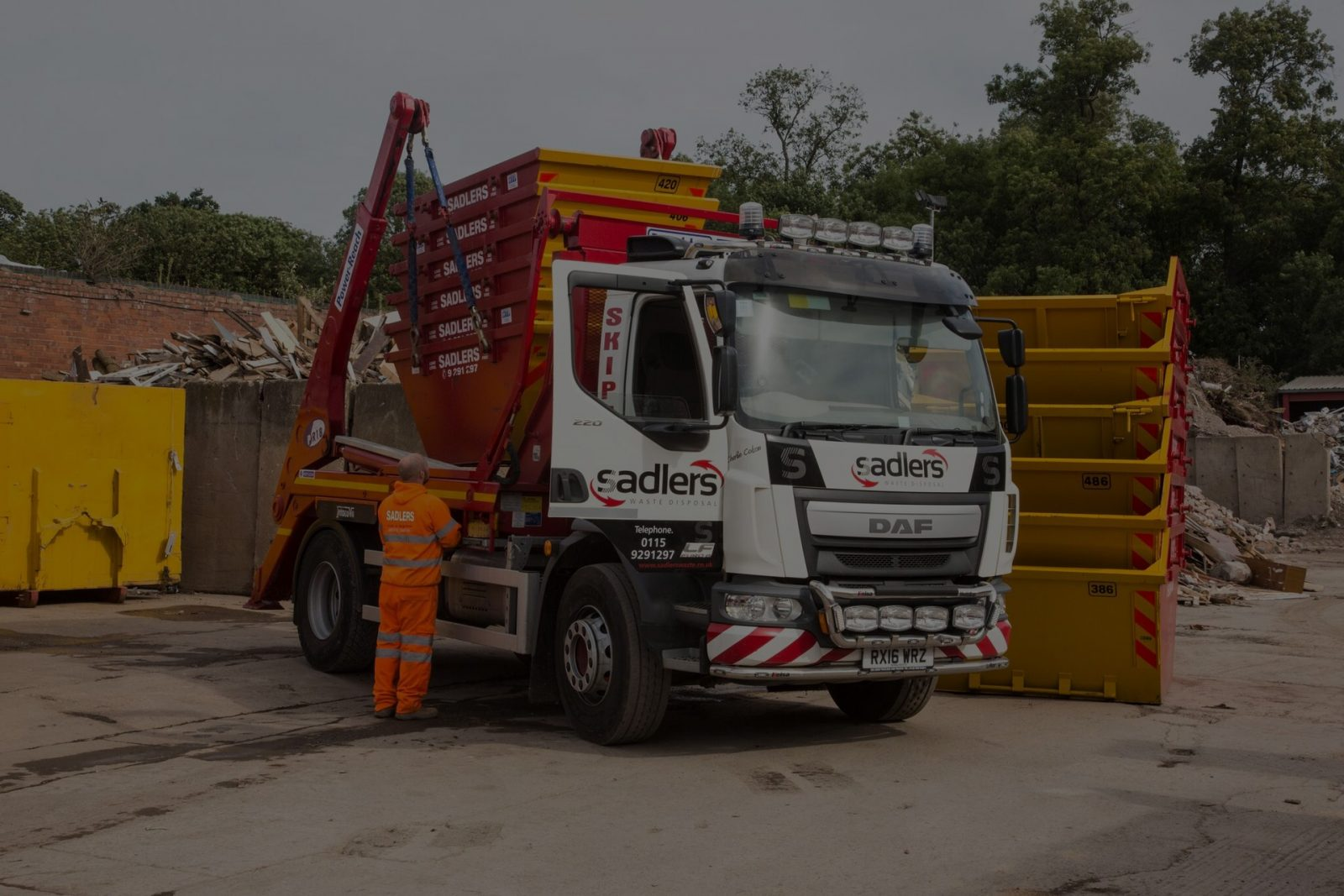 skip hire truck colson sadlers waste nottingham derby leicester