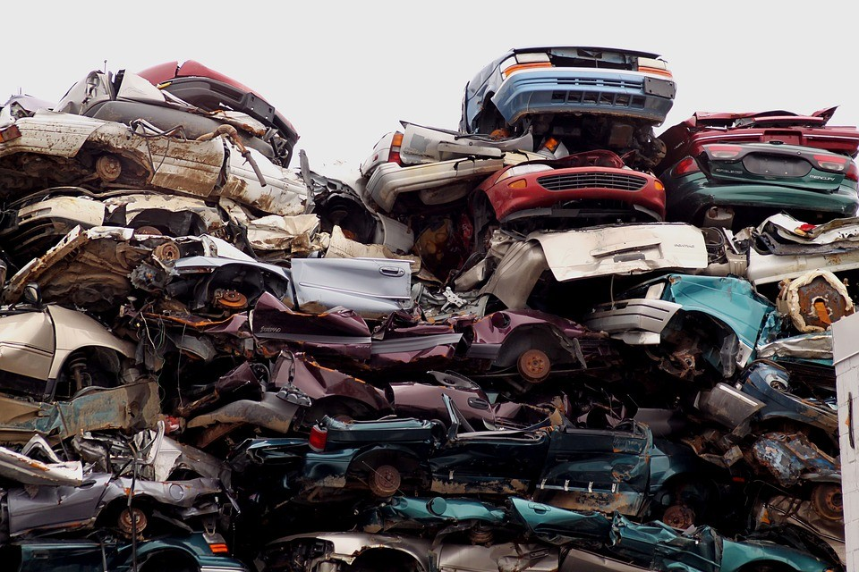 pile of scrap cars in nottingham