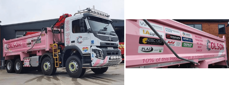 pink cancer research grab lorry