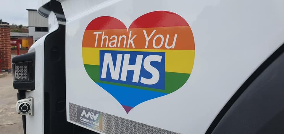 thank you nhs sticker on lorry